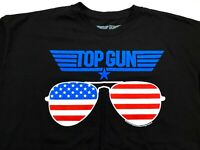 Top Gun XL Men's Short Sleeve Black T-Shirt Tom Cruise Aviator Sunglasses NEW