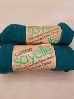 NOS 2 Skeins CARON Sayelle 4 Ply Yarn 100% Orlon 3.5 oz each 1027 Dark Jade