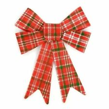 Festive Christmas and Holiday Red and Green Plaid Bow Ribbon Decoration