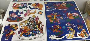 Vintage Winnie the Pooh Christmas Window Cling Set Of 2 Sheets