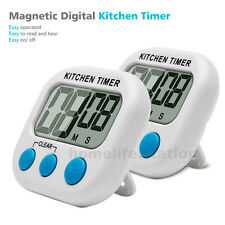 2x LCD Screen Kitchen Egg Timer Magnetic Countdown Count UP Cooking Alarm Clocks