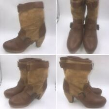🌟Zara Size 7 40 Brown Leather Suede Mid Calf Boots Boho Blogger Festival Womens