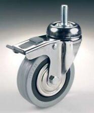N°2 Roues caoutchouc gris avec frein axe fileté d.100 kg80 pour meubles chariots