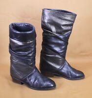 10S Stiefel Slouch Boots Leder schwarz braun Gr. 36,5 Krempelschaft Vintage Boho