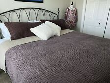 Pottery Barn Velvet Linen King Size Pickstitch Quilt W/shams