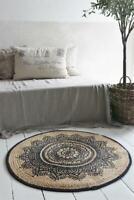 Jeanne d´Arc Living Teppich Rund 100% Jute Läufer Carpet Galerie JDL Ø 90 Shabby