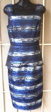 NEW Dress Sz 10 Lifestyle Wear blue grey black stripe dressy wedding party
