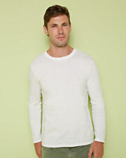Gildan Patternless Crew Neck Long Sleeve T-Shirts for Men