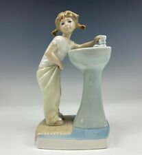 Retired Lladro Spain Clean Up Time #4838 Girl Sink Signed Porcelain Figurine Ram