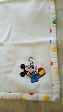 NWOT White Baby Crib Blanket / Throw Disney Embroidered Mickey Mouse 100% Acrlyc