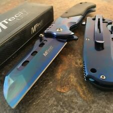 Rainbow Titanium TACTICAL Spring Assist Pocket Knife CLEAVER RAZOR FOLDING Blade