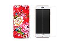 iPhone 8 Combo coque gel + protection écran verre trempé - Fleur / Rouge