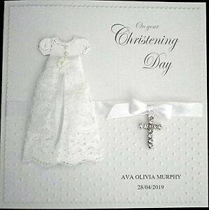 Personalised Hand made Embossed Christening Day Card. Dress & Cross