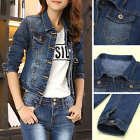 Women Lady Denim Jacket Jeans Stretch Fitted Button Long Sleeve Jackets Coat