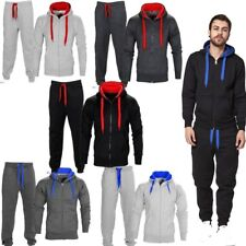Mens Contrast Tracksuit Top Bottom Jogging Set Fleece Hoodie Jogger Gym New HNL