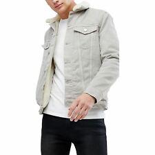 New Ex-Store Mens Borg Fleece Lined Denim Jean Jacket Coat Sizes XS - XXL