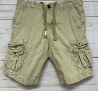 Abercrombie & Fitch Men's Size 32 Khaki Cargo Shorts Distressed Heavy Draw