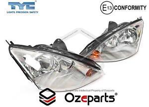 Set Pair LH+RH Head Light Lamp Chrome For Ford Focus LR 2002~2005 Hatch Sedan