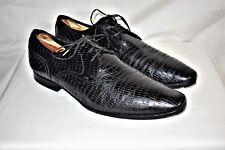 ZARA Man Reptile Leather Pointed Toe Black Oxford Shoes Size 9