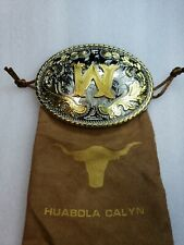 Silver and Gold Tone With Protective Bag New Huabola Calyn W Initial Belt Buckle