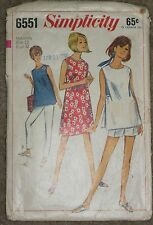 Vintage Simplicity Sewing Pattern~Maternity ~ 6551~Size 12, Bust 32~Trimmed~1966