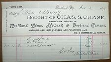 1893 Billhead Portland Maine Chas. S. Chase Dealer In Rockland Lime, Cement
