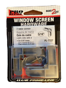 "Make 2 Fit Pro Repair 5/16"" Window Screen Frame Corner Hardware 4 Pack Gray New"