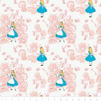 "Disney Alice in Wonderland Toile Blush Camelot 100% cotton Fabric Remnant 22"""