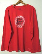 Life Is Good Crusher Crewneck L/S T-Shirt Womens 2XL Rocket Santa Peace Love NWT