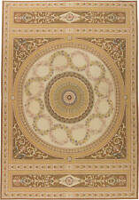 European Inspired Aubusson Beige and Brown Flat-woven Wool Rug N11384