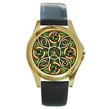 MYSTIC GREEN & RED CELTIC KNOT GOLD-TONE LEATHER WATCH