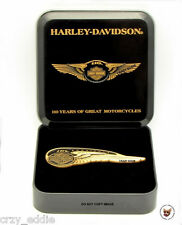 HARLEY DAVIDSON 110TH ANNIVERSARY TANK BADGE PIN IN COLLECTORS TIN  BAR SHIELD
