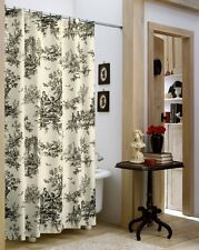 Lavish Black/Ivory Classic Toile Shower Curtain