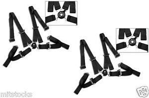 """2 X BLACK 4 POINT CAMLOCK QUICK RELEASE RACING SEAT BELT HARNESS 2"""" SCION"""