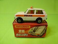 MATCHBOX 20 ROLA-MATICS POLICE PATROL ( RANGE ROVER ) - WHITE - NEAR MINT IN BOX