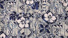 Hilo Hattie The Hawaiian Large Bark Cloth Wood Button SS Blue