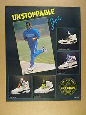 1990 LA L.A. Gear 4 Hi-Top Shoe Models joe montana photo vintage print Ad
