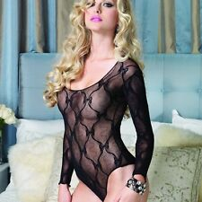 Black Sexy Lace Body Long Sleeved Gothic Lingerie Outfit Bedroom Costume NEW