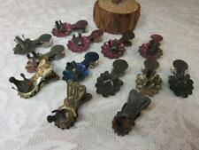 *True Antique Feather Tree Candle Clips Pressed Tin Bird Tail, Flower Petal 13pc
