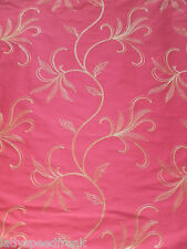 Harlequin Curtain Fabric SIRENA 4.8m Ruby Red/Lime Embroidered Silk Leaf Design