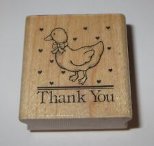 Thank You Goose Rubber Stamp Hearts Duck Hero Arts Retired Wood Mounted