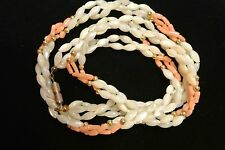 Vintage Mother of Pearl and Coral Twist Necklace Beautiful MOP and Coral