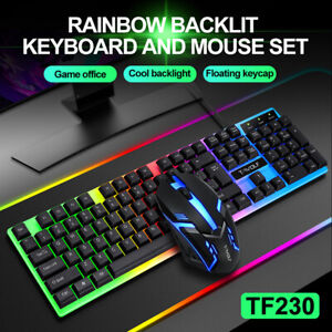 Computer Desktop Gaming Keyboard and Mouse Mechanical Feel RGB Led Light Backlit
