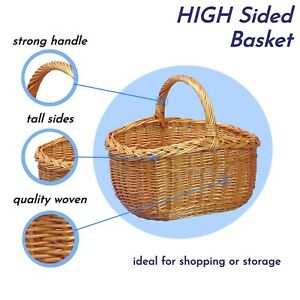 "16"" Large Wicker Shopping Basket with Handle Vintage Carry Picnic Hamper Cookery"