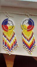 Native American Beaded Medicine Wheel Dreamcatcher Earrings