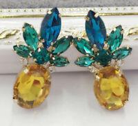 Hot Crystal Ear Drop Dangle Stud Ancient Gold long Tassels Pineapple Earrings