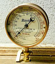 Dated July 1917: LARGE Vintage Brass Pressure Gauge, Steampunk, Antiique