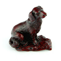 Chinese Zodiac Dog Statue Puppy Figurine Feng Shui Animal Redwood Color 4in