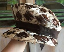 Vtg 50s Straw Woven Hat Brown Cream Luxury Fashion grosgrain Ribbon Mushroom Top