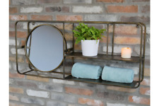 Wall Unit Mirror Metal Antique Gold Shelves Storage Rack Bathroom Organise NEW